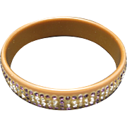 Celluloid bracelet rhinestones Purple Cappuccino clear