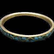 Turquoise chip inlay Bangle bracelet Brass  India