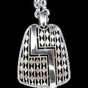 Trifari Necklace Silver tone metal Big pendant