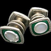 Snaplink cufflinks green celluloid Mother of pearl