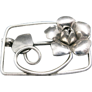 Sterling silver Pin Floral blossom Hand made
