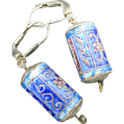 Chinese enamel bead earrings Blue enamel Pierced