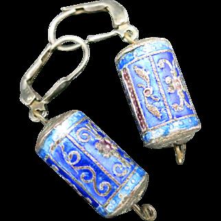 Chinese enamel bead earrings Blue enamel Pierced