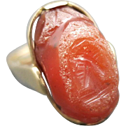 Antique Intaglio gold ring Carnelian Carved Man