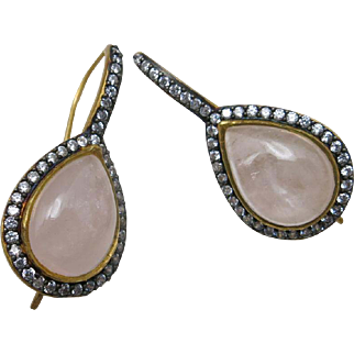 Rose quartz earrings Crystal accents Pierced Magnificent