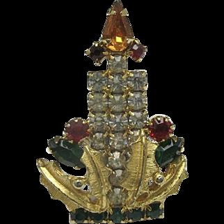 Christmas Jewelry Rhinestone pin Candle