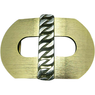 Large Vintage Belt buckle Silver and gold tone Seventies
