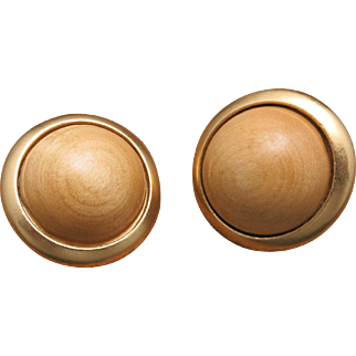 YSL earrings Beautiful Wood Cabochons Yellow gold tone