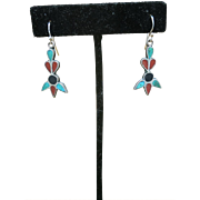 Vintage Sterling silver earrings coral turquoise Pierced