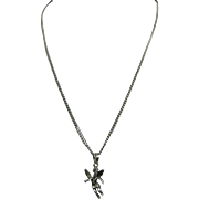 Angel pendant Sterling silver long chain