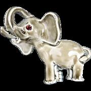 Elephant pin Grey enamel Hathi Trunk up rhinestone eye