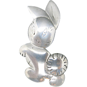 Easter Bunny pin Vintage Rabbit Pewter