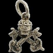 Papal tiara Papal Keys charm sterling silver Rome
