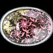 Japanese pin Mid Century Pink GOld ENAMEL BROWN