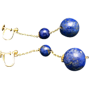 Bead Earrings Dangle 15 Carat Yellow gold LAPIS LAZULI
