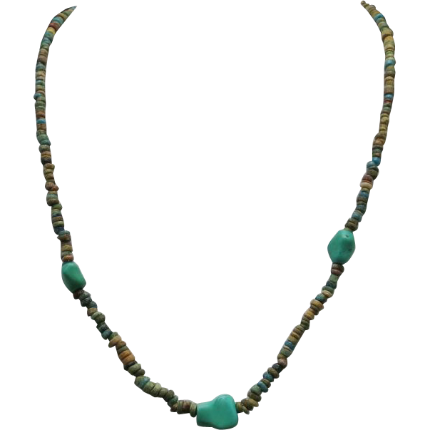 Turquoise bead necklace faience pottery beads sold on ruby for Faience turquoise