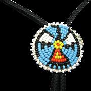 Beaded Bolo tie Hand made thunderbird Motif