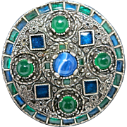 Celtic Pin Miracle Pewter tone Blue and green stones