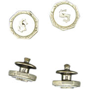 Cufflinks Silver tone metal Mother of pearl Initial S