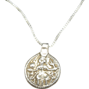 Shiva Amulet Coin silver sterling chain India CHarm