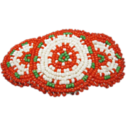 Beaded Barrette Native American Motif Red White Green