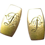 Antique Rolled Gold Cufflinks Initial Monogram D Barbell
