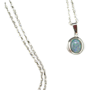 Sterling silver Necklace Man Made Opal