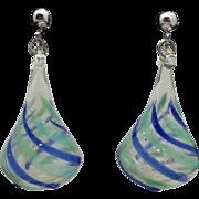 Glass bead earrings Large Hollow Swirls blue green
