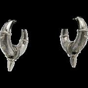 Tribal earrings Sterling silver Pierced Large ATS