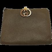Vintage Gucci Wallet Taupe Pigskin LOGO Enamel