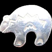 Bear Pin Sterling silver Native american motifs Rick Werito