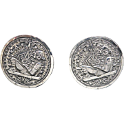 Aztec Calendar stone Cuff Links Sterling silver Mexico