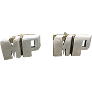 Sterling silver cufflinks Monogram MP Wonderful Chunky Font