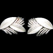 Trifari earrings silver tone clip on  classic