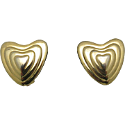 escada earrings Gold tone METAL Heart shaped