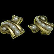 trifari earrings Clip on Fake pearls