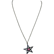 Star pendant Pentagram Pewter Pink stone NWOT