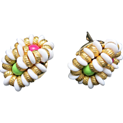 Pink green an white earrings clip on style Preppy
