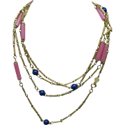 Long Bead necklace gold tone chains pink Blue glass beads