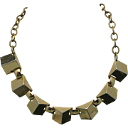 Geometric necklace GOld tone metal Triangular links
