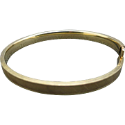 Bangle bracelet Slim Yellow Gold filled etched