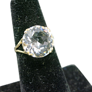 Rock Crystal Ring SOLITAIRE stone sterling 6 usa