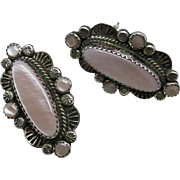 Navajo earrings Sterling silver Pink Shell Clip on