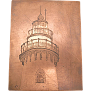 Copper ecthing plate Evanston Lighthouse