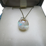 Opal chip necklace Snow Globe floating gold filled