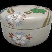 Japanese trinket box Floral Motif Signed Gold red green