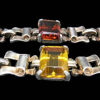 Retro bracelets Topaz yellow brown glass Pair