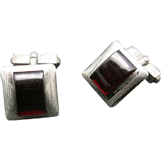 Sterling silver cufflinks SWANK red stone