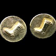 Riding boot cufflinks Equestrian gold tone