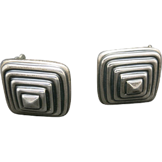 Pyramid earrings Sterling silver clip on Vintage